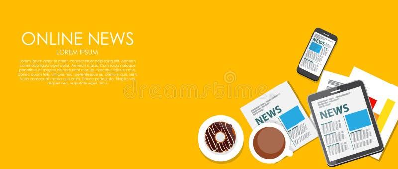 Online-nyheternavektorillustration Plan beräkning vektor illustrationer