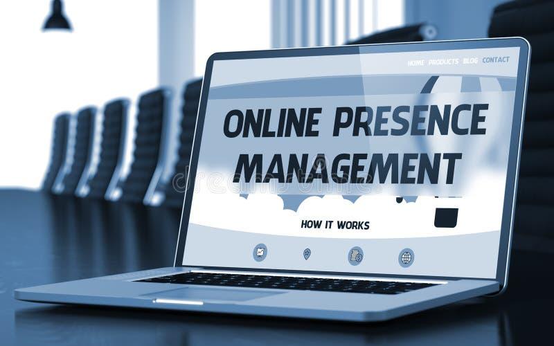 Online obecności zarządzanie na laptopie w pokoju konferencyjnym 3d ilustracja wektor