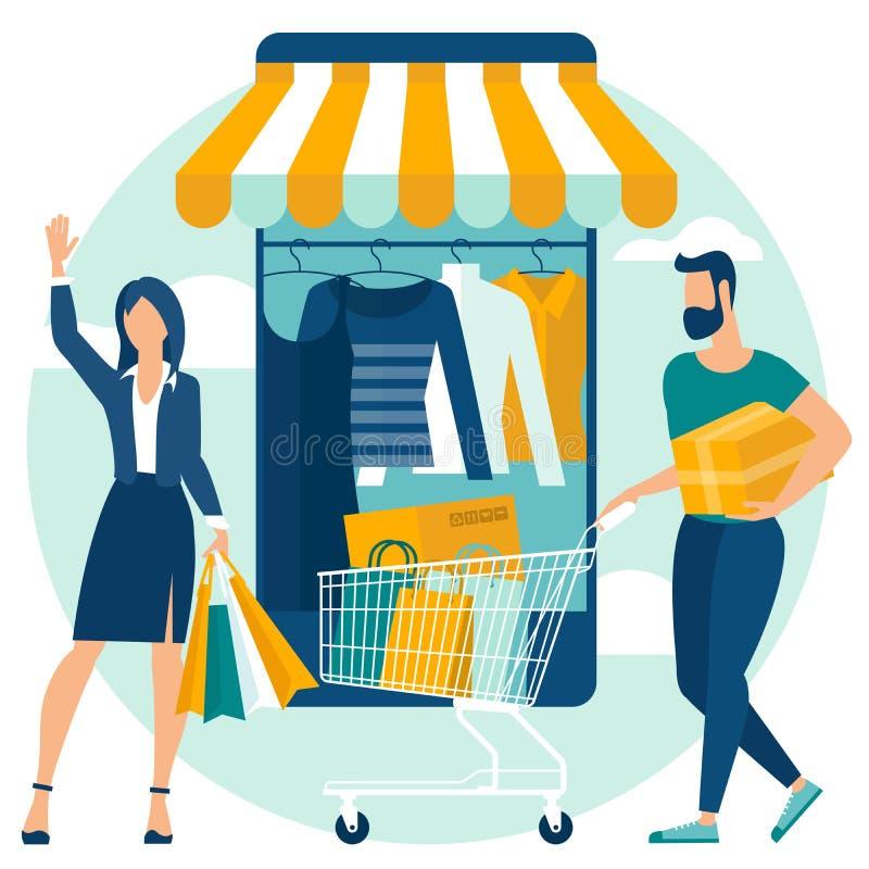 Online-- och mobilt shoppa begrepp stock illustrationer