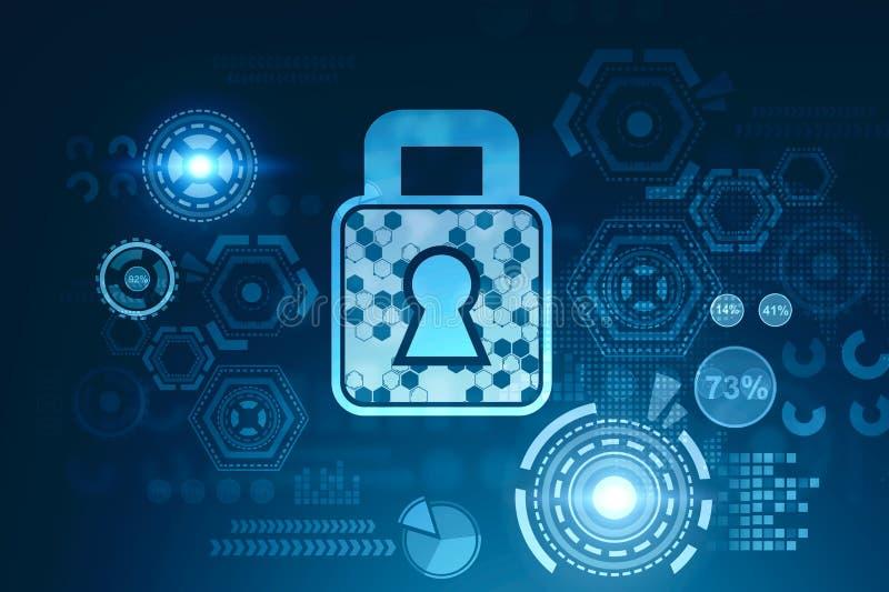 Online ochrony HUD cyfrowy interfejs royalty ilustracja