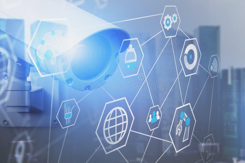 Online ochrony inwigilacji interfejsu kamera ilustracja wektor