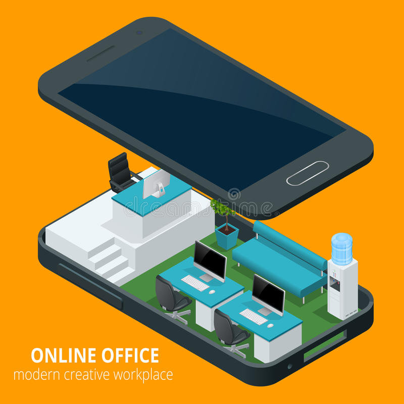 Online office concept. Isometric vector illustration office work, business concept, office furniture, workflow are stock illustration