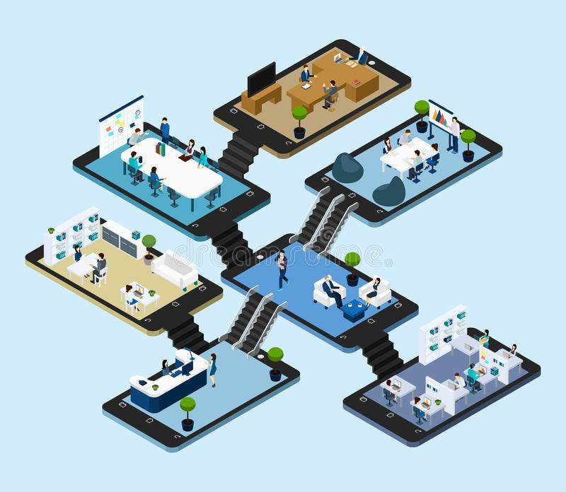 Online Office Isometric Icon royalty free illustration