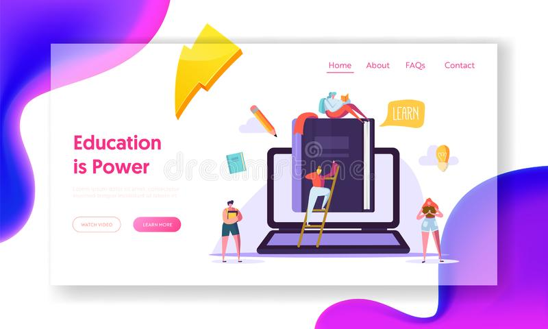 Online Onderwijs Bedrijfscursuslandingspagina Student Training door Digitale Boektechnologie Idee van de Web het Videobibliotheek vector illustratie