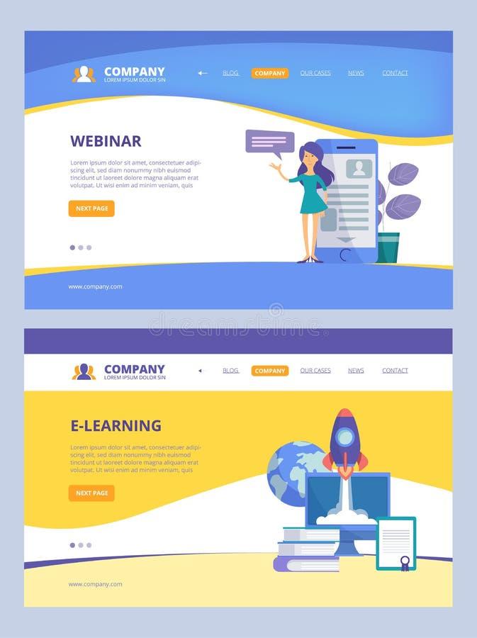 Online Onderwijs De landende Opleiding webinars ontwerpsjabloon van de de boeken vectorwebpagina van e-lerende afstandscursussen vector illustratie