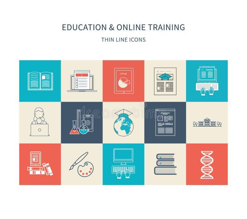 Online onderwijs en cursussen stock illustratie