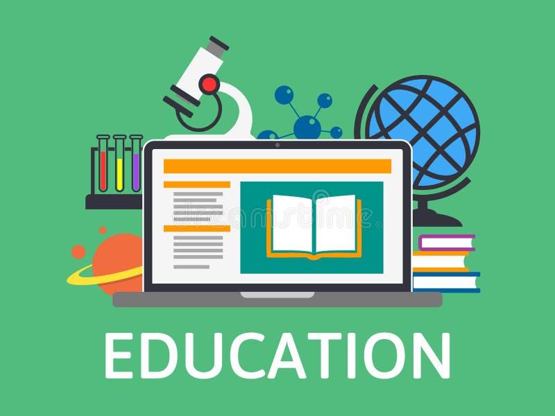Online onderwijs en opleiding E-lerend Concept Modern technologieontwerp online boek Vlak vectorconceptenonderwijs stock illustratie