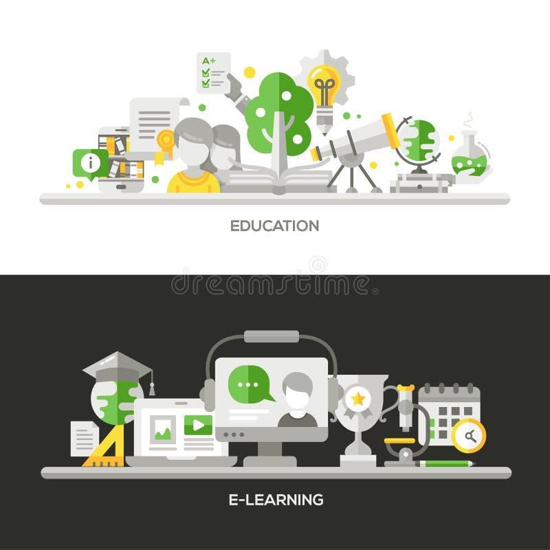 Online Onderwijs, Geplaatste de Banners van e-Lerend Conceptensamenstellingen royalty-vrije illustratie