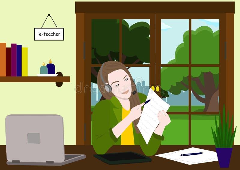 Online Onderwijs Online Informatietechnologie Conceptenillustratie De e-leraar toont thuiswerk op papier via Webcamera stock illustratie