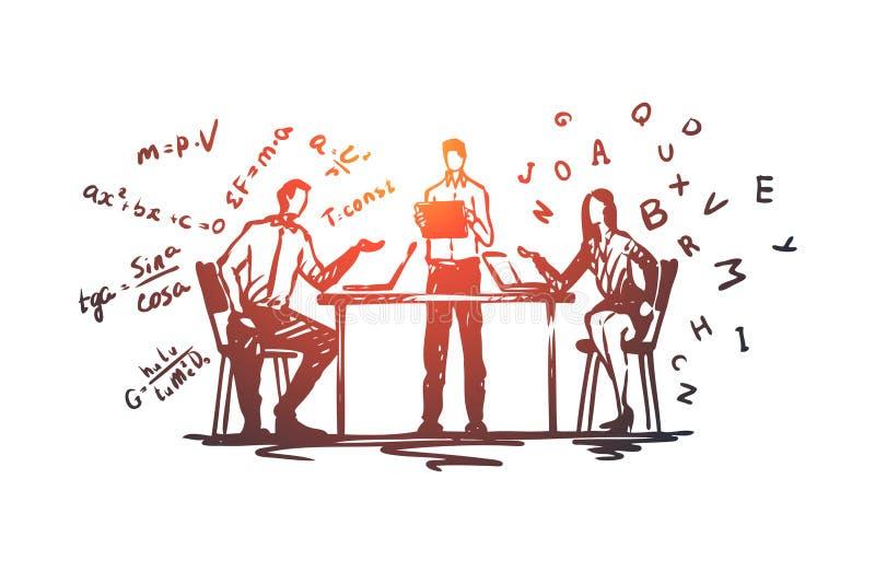 Online, onderwijs, kennis, computer, Internet-concept Hand getrokken geïsoleerde vector stock illustratie