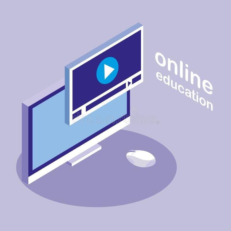 Online onderwijs met Desktop vector illustratie