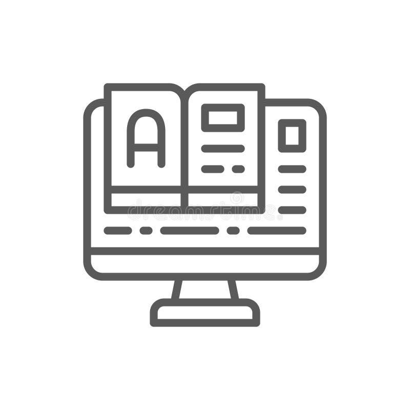 Online onderwijs, monitor met het pictogram van de boeklijn vector illustratie