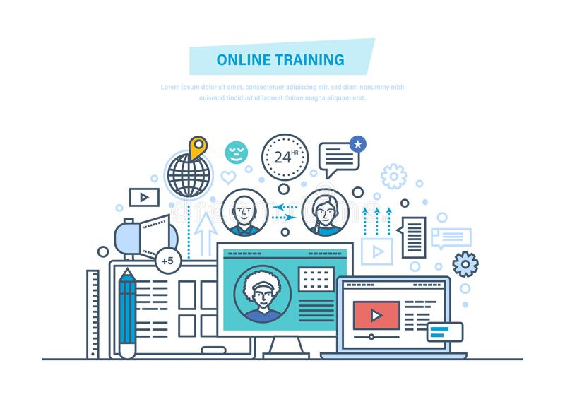 Online onderwijs, trainingscursussen, e-leert, afstand opleiding, webinars, online conferentie vector illustratie
