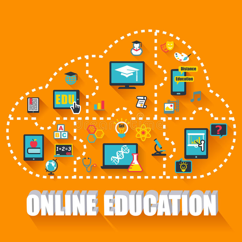 Online onderwijsconcept royalty-vrije illustratie