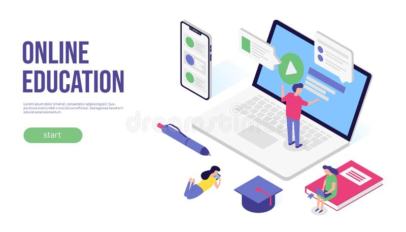 Online onderwijsconcept 3d isometrisch vlak bannerontwerp Voor Web, infographic of druk Vector illustratie vector illustratie
