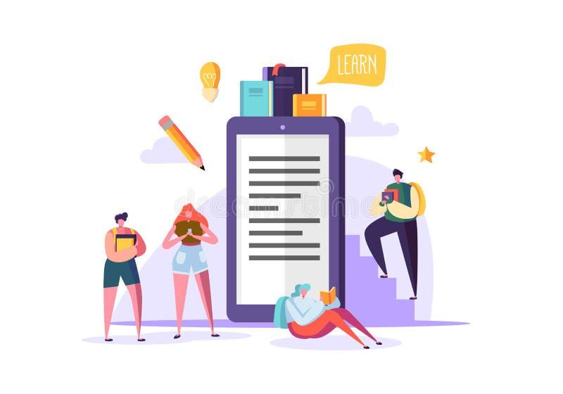 Online onderwijsconcept E-leert met Vlakke Mensen die Boeken lezen Karakters van de graduatie de Universitaire Universiteit teach vector illustratie