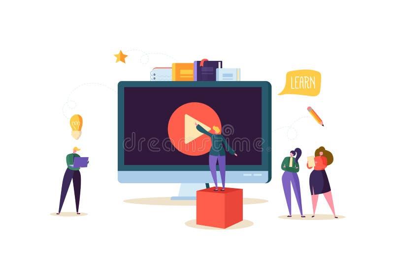 Online onderwijsconcept E-leert met Vlakke Mensen die op Stromende Videocursus op Computer letten Graduatieuniversiteit vector illustratie