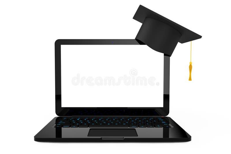Online onderwijsconcept Graduatiehoed over Laptop 3D renderi royalty-vrije illustratie