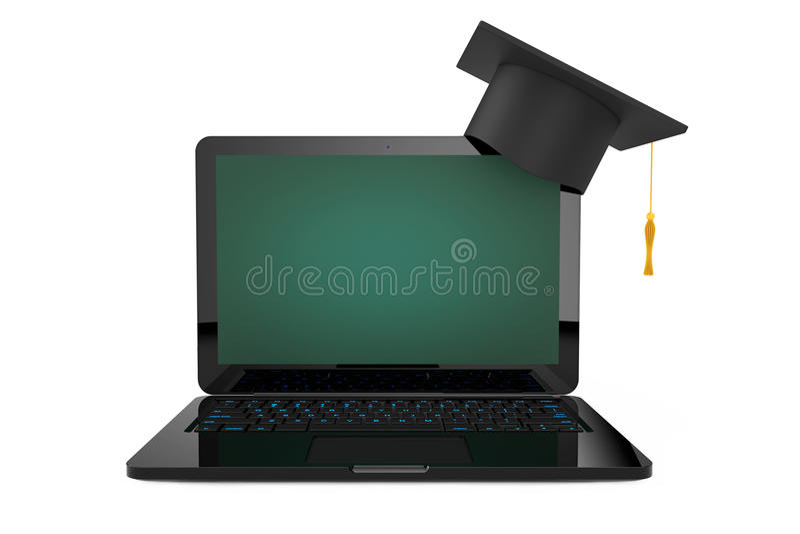 Online onderwijsconcept Graduatiehoed over Laptop met Blackb stock illustratie