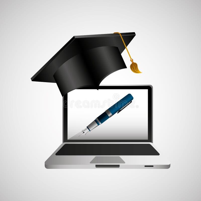 Online onderwijsconcept het schrijven penontwerp royalty-vrije illustratie