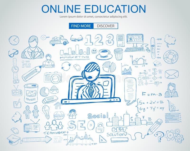 Online Onderwijsconcept met de stijl van het Bedrijfskrabbelontwerp: royalty-vrije illustratie