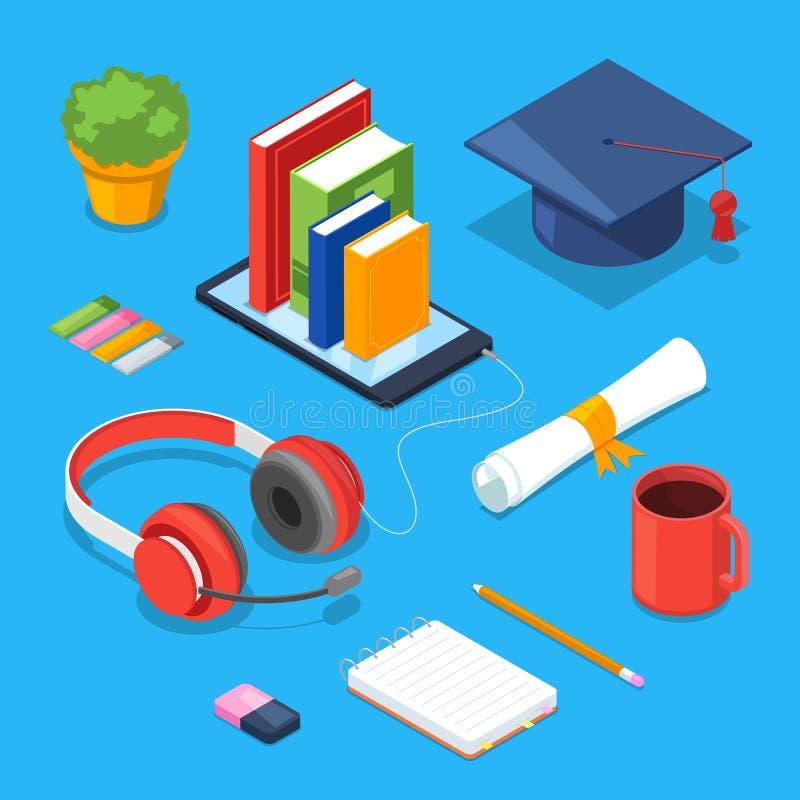 Online onderwijsconcept Vector 3d isometrische pictogrammen van smartphone, boeken, hoofdtelefoons Het audio leren, opleiding en  stock illustratie