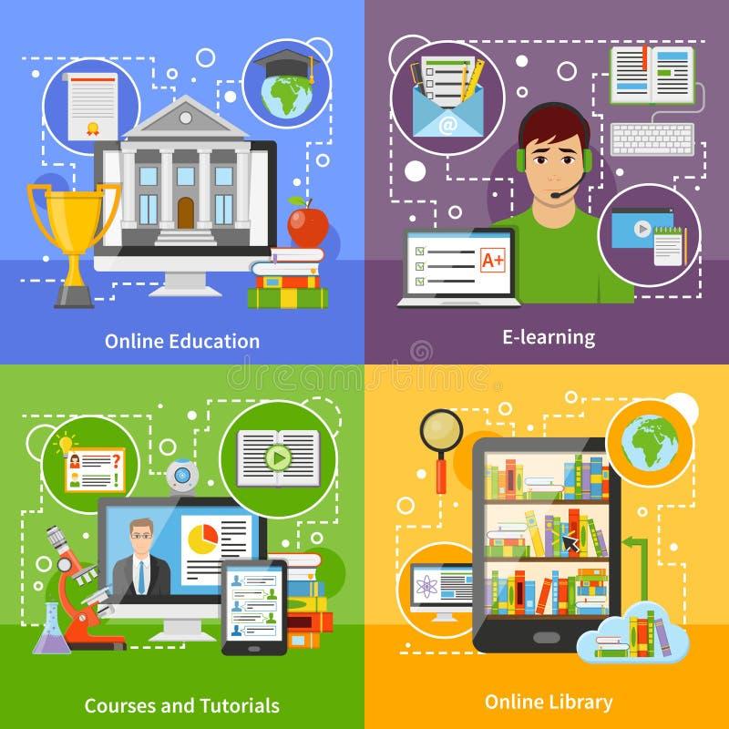 Online Onderwijsconcept 4 Vlakke Pictogrammen royalty-vrije illustratie