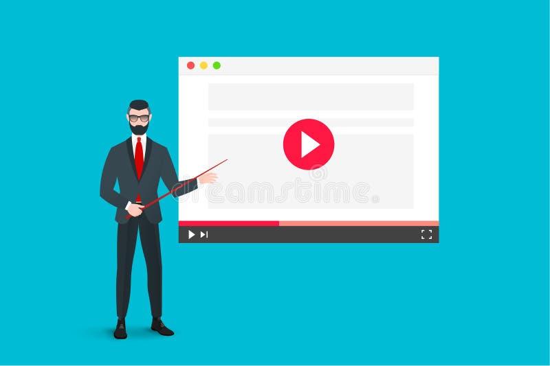 Online Onderwijsillustratie met de Abstracte Webbrowser en van Bedrijfsspeler Busnear the video Vlak vectorconcept royalty-vrije illustratie