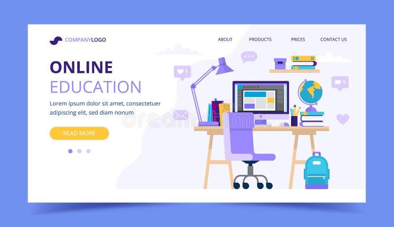 Online onderwijslandingspagina met een studentenbureau met verschillende het bestuderen punten Vectorillustratie in vlakke stijl vector illustratie