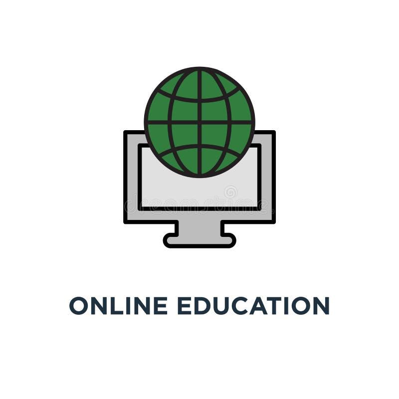 Online onderwijspictogram videocursus, beurs, het certificaat van de graduatiegraad, het schrijven globaal het symboolontwerp van vector illustratie