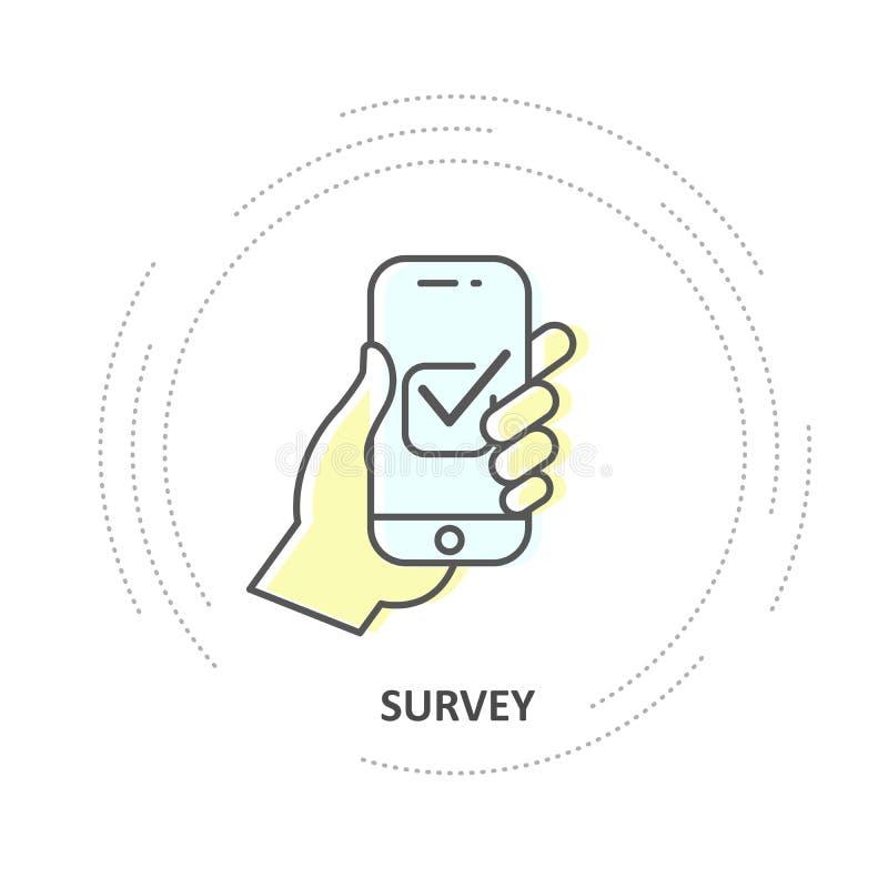 Online onderzoek - checkbox op het smartphonescherm, hand houdt smartphone vector illustratie