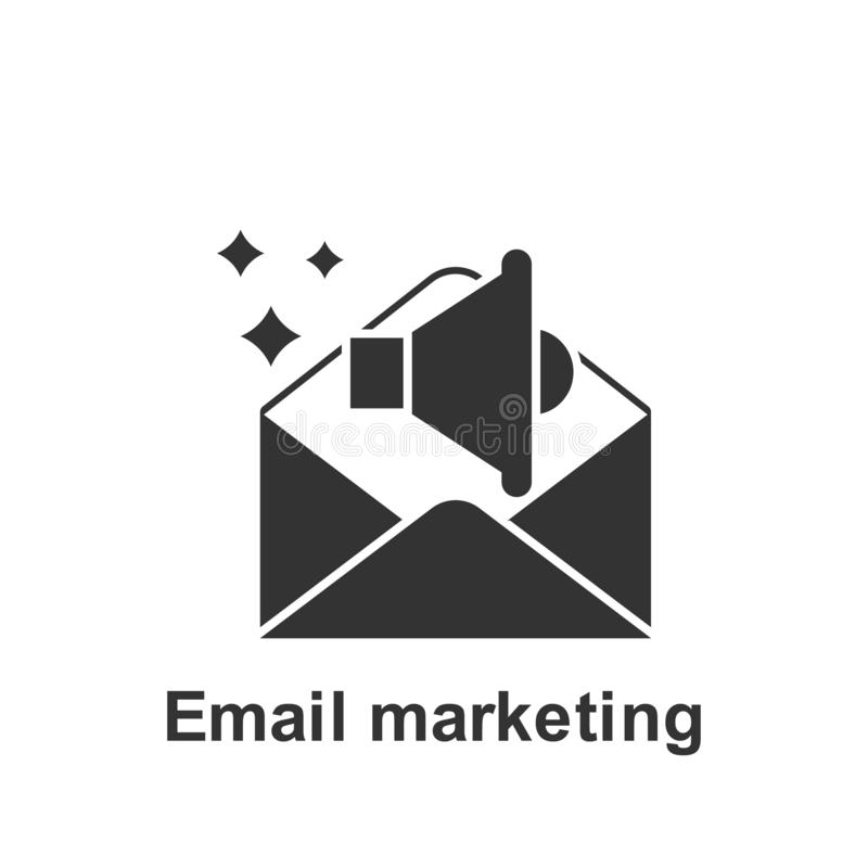 Online op de markt brengend, e-mail marketing pictogram Element van online marketing pictogram Grafisch het ontwerppictogram van  vector illustratie