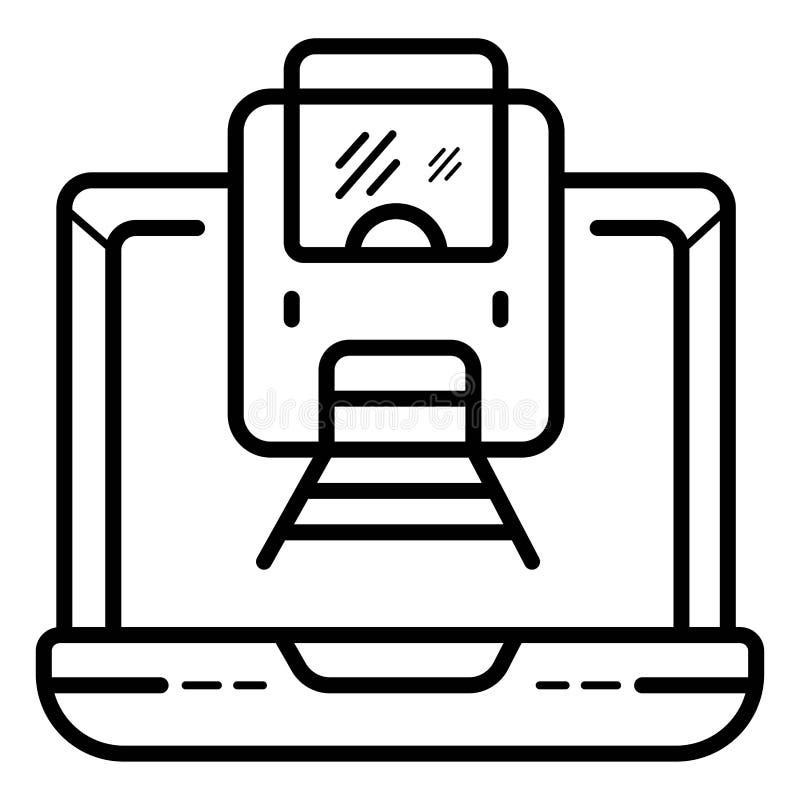 Online opdracht gevend tot een treinkaartje royalty-vrije illustratie