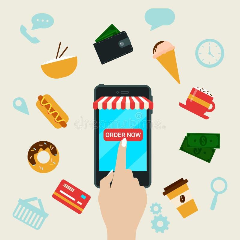 Online opdracht gevend tot Snel Voedsel door Slimme Telefoon vector illustratie
