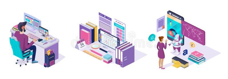 Online Opleidend De taal van de e-lerende cursusschool, onderwijs via mobiele toepassing vector illustratie