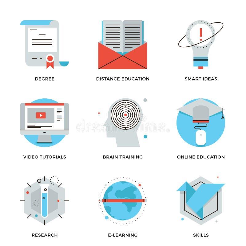 Online opleiding en onderwijs geplaatste lijnpictogrammen royalty-vrije illustratie