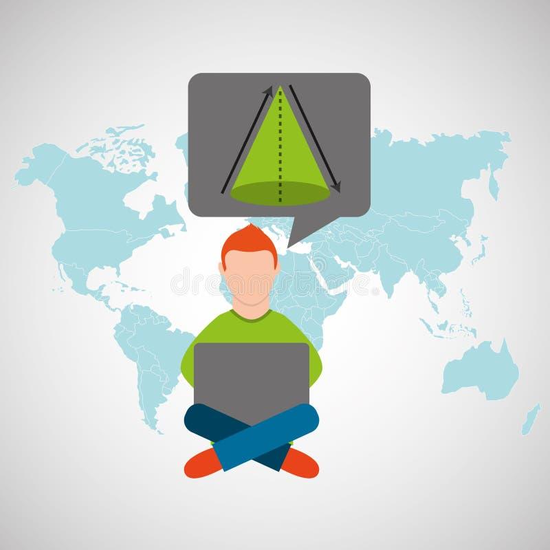 Online opleidings onderwijs-student meetkunde royalty-vrije illustratie