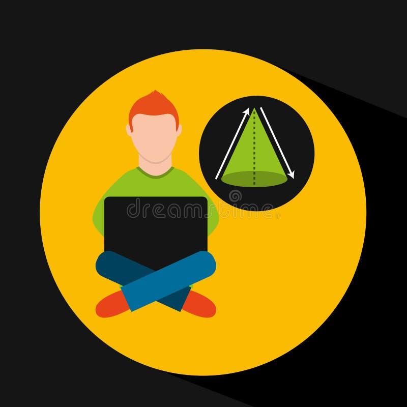 Online opleidings onderwijs-student meetkunde vector illustratie
