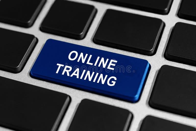 Online opleidingsknoop op toetsenbord stock foto's