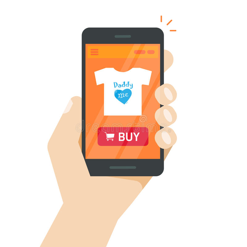 Online opslag op mobiele telefoonvector, Internet-winkelwebsite op het smartphonescherm ter beschikking stock illustratie