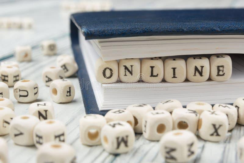 Online-ord som är skriftligt på träsnittet Träabc arkivbilder