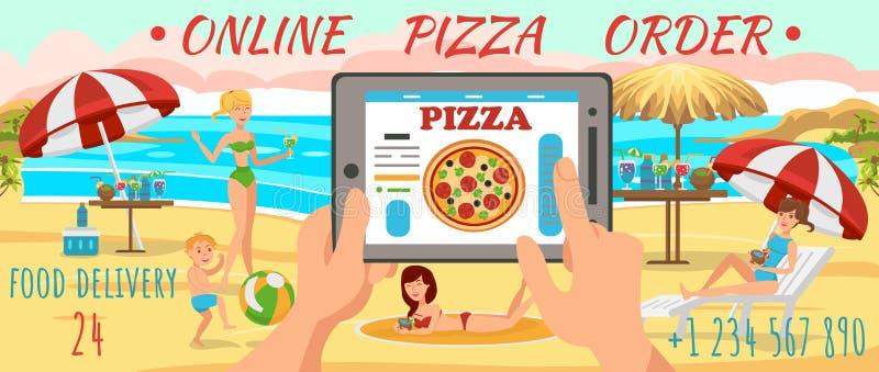 Online Ordepizza op Strand Familie op strand vector illustratie