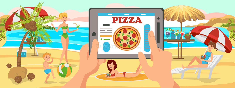 Online Ordepizza op Strand Familie op strand stock illustratie