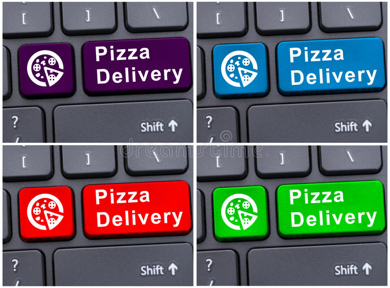 Online order concept with pizza delivery button royalty free stock photography