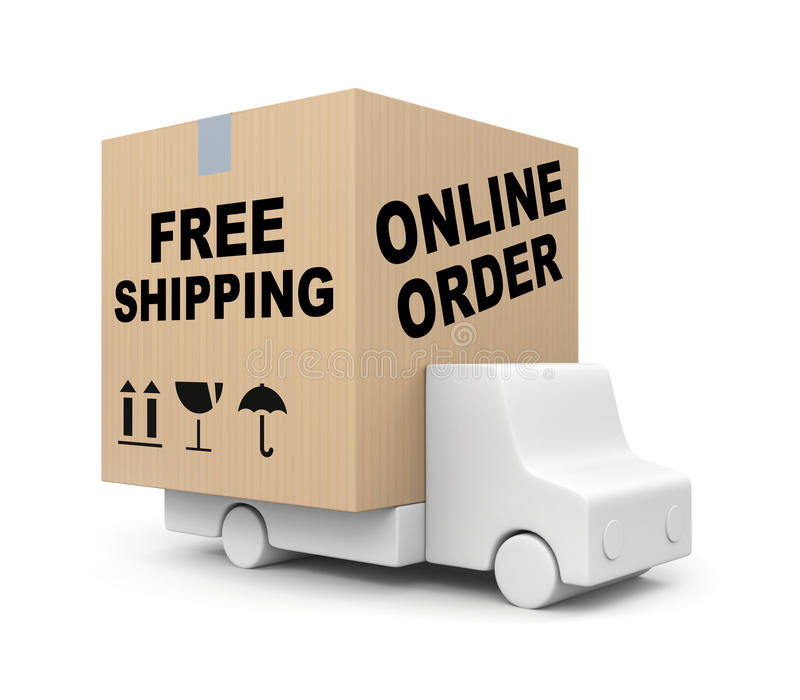 Online order - Free shipping stock illustration