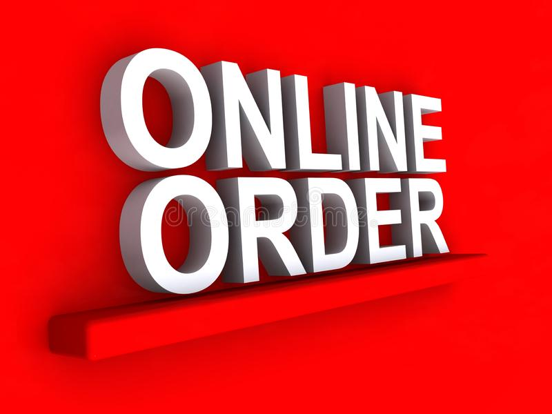 Online order 3D illustration. Online order illustrated in 3D white block text graphics on red royalty free illustration