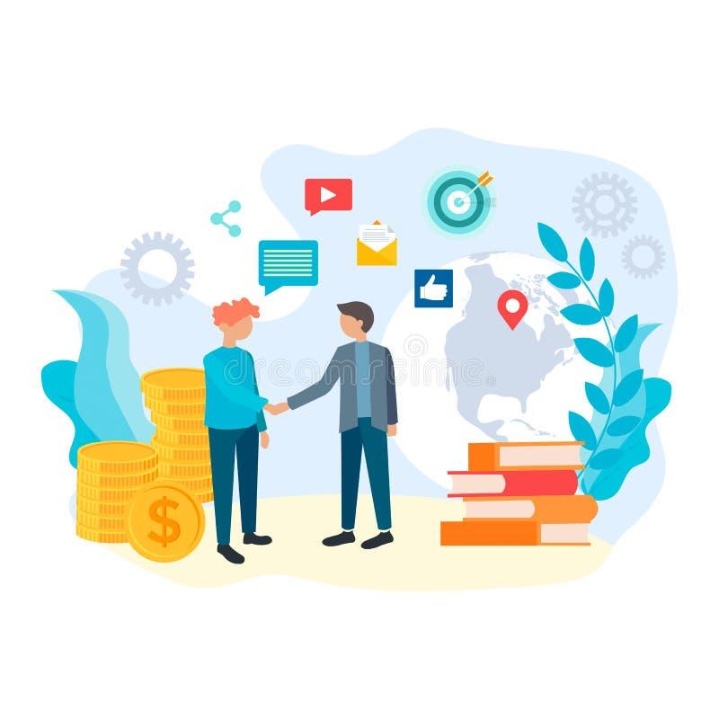 Online overeenkomst, slimme oplossingen, groepswerk, Internet communicat stock illustratie