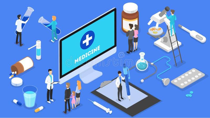 Online overleg met arts Verre medische behandeling stock illustratie