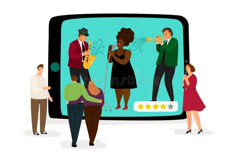 Online overleg Muziek fest vectorillustratie De zanger en de ventilators van de jazzband Mobiele muziektoepassing stock illustratie