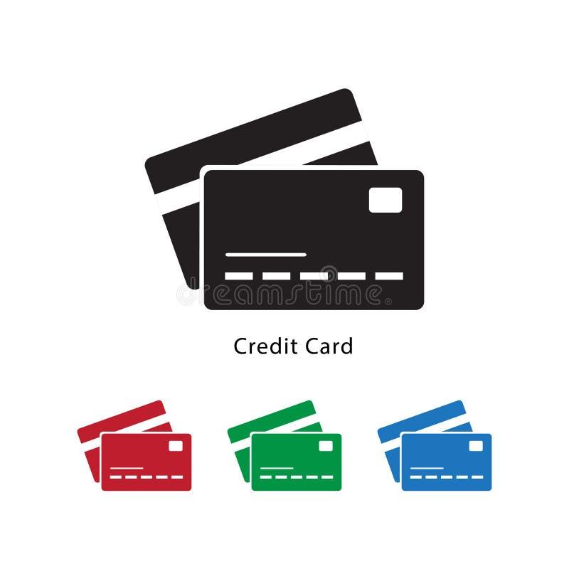 Online płatnicza kredytowej karty ikony wektorowa ilustracja na białym tle z różnym koloru setem ilustracji